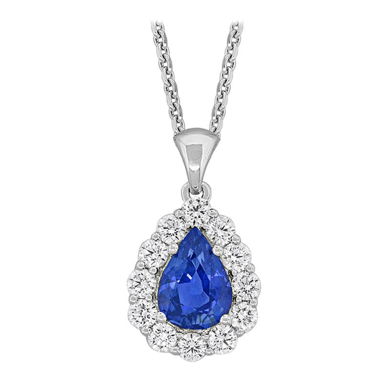 King's 18kt PearShape Sapphire & Diamond Pendant