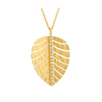 Gold Leaf Necklace with Diamonds Satin Finish