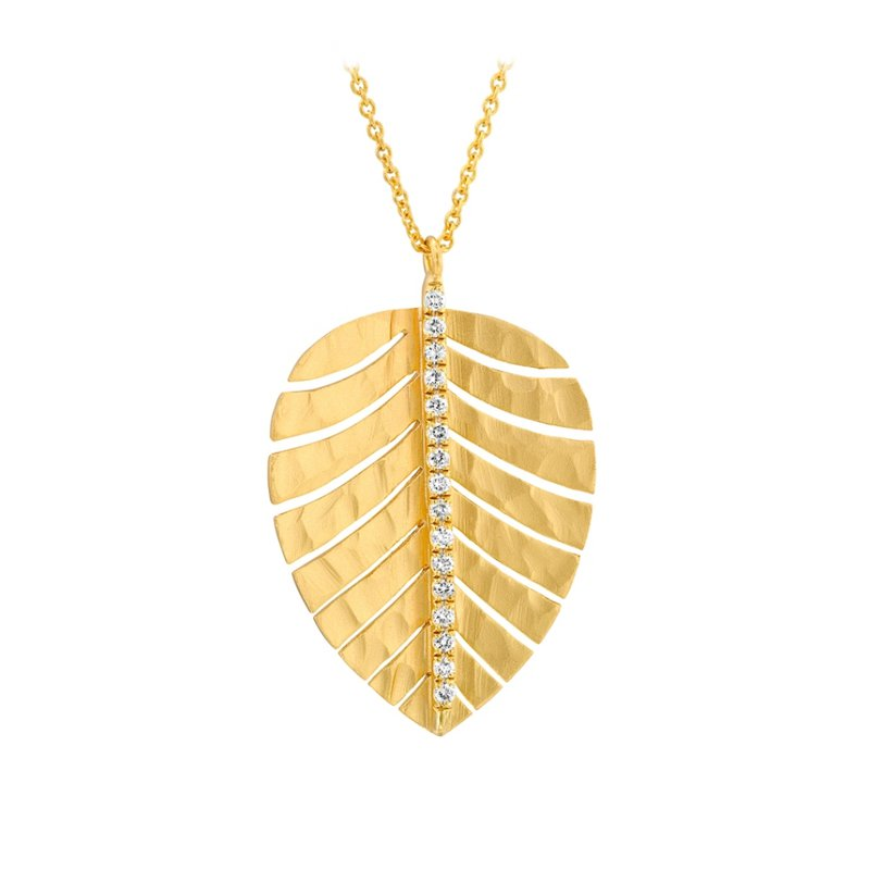 King's Gold Leaf Necklace with Diamonds Satin Finish