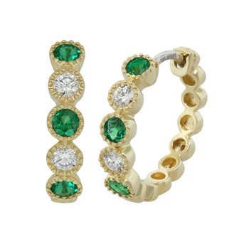 18kt Yel Emerald and Diamond Hoop Bezel Set Earrings