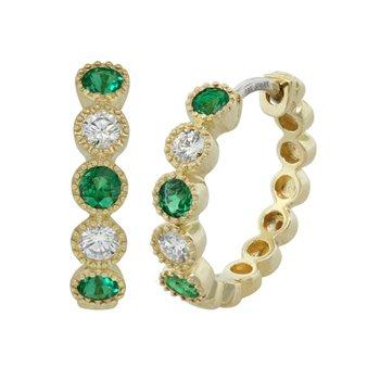 18kt Yel Emerald and Diamond Hoop Bezel Set Earrings