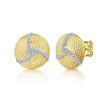 14kt Yel Gold & Diamond Button Earrings