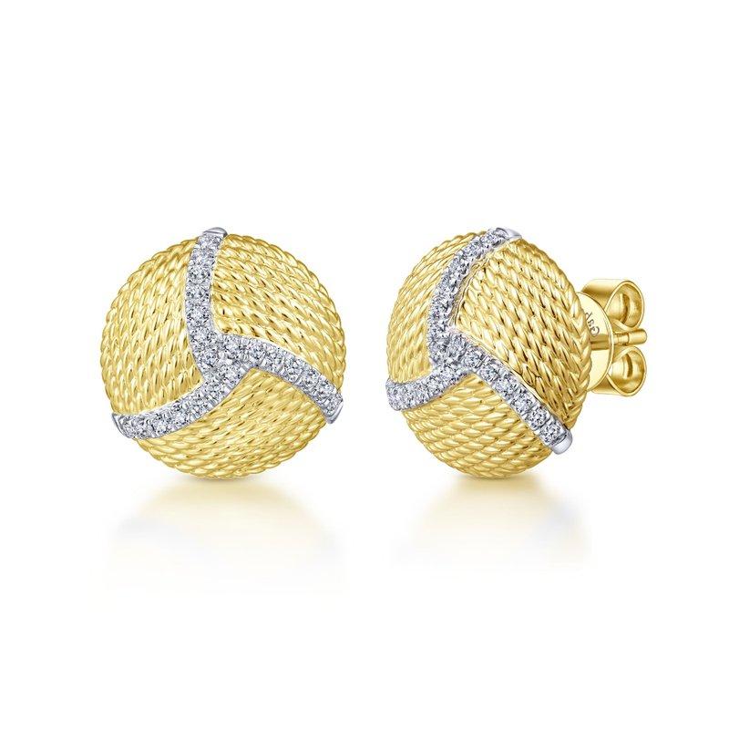 King's 14kt Yel Gold & Diamond Button Earrings