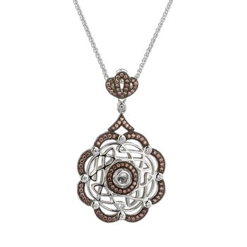 """Eternity Wave Day Night"" CZ Scalloped Pendant Reversible"