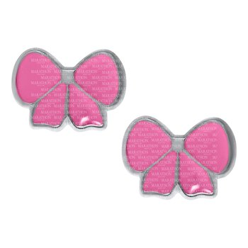 Sterling Pink Bow Earrings