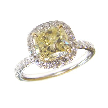Fancy Yellow Cushion Cut Diamond Ring