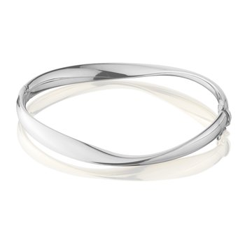 Sterling Silver Mobius Shaped Bangle Bracelet