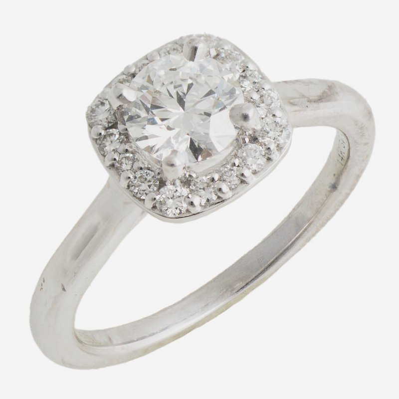 King's Bridal 14kt Wh Diamond .71ct Round Brilliant Cut in Square Halo