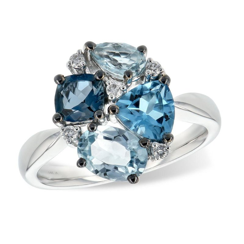 King's Blue Topaz and Diamond Ring