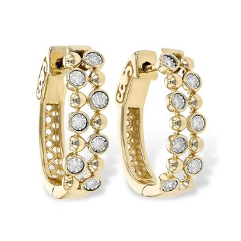 Diamond Hoop Earrings Bezel Set