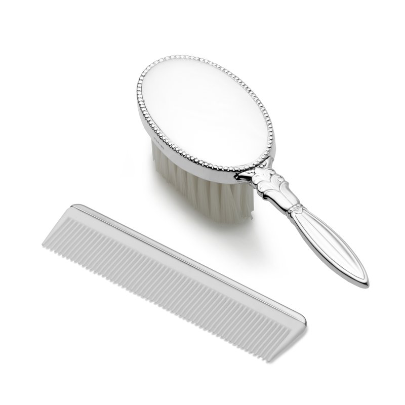 Lifetime Brands Girl's Oval Brush & Comb Set Sterling