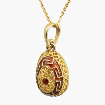 "14kt Yel Filagree Egg Pendant w/Red Enamel 18"" Chain"