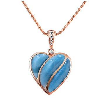 "14kt Rose Gold Blue Larimar Heart Pendant 18"" Chain"
