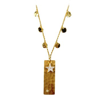 Gold Tag Necklace with Diamonds