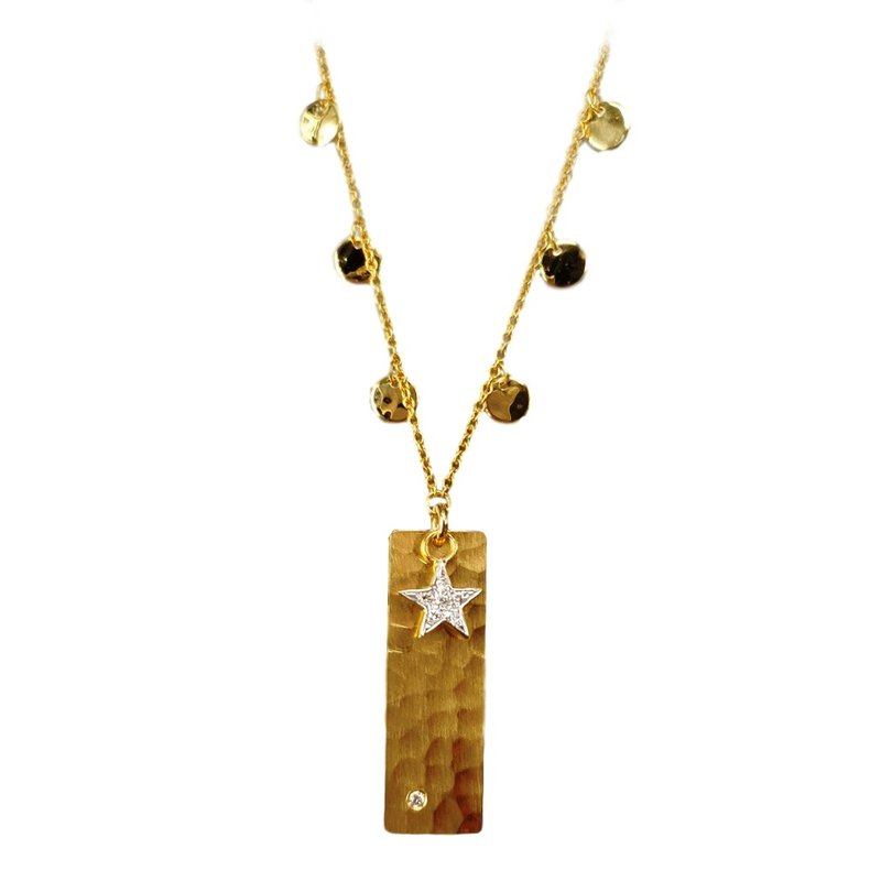 King's Gold Tag Necklace with Diamonds