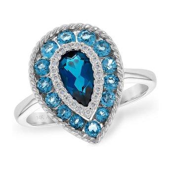 Pear Shape Blue Topaz and Diamond Ring