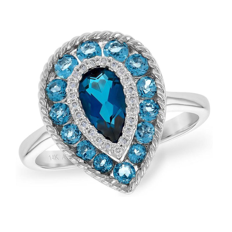 King's Pear Shape Blue Topaz and Diamond Ring