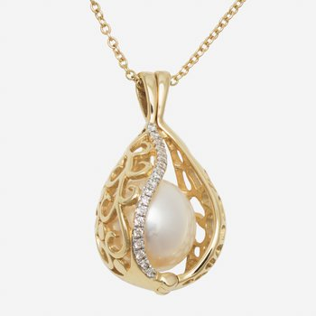 18kt Yel Gold 10mm Pearl Basket Pendant w/Diams
