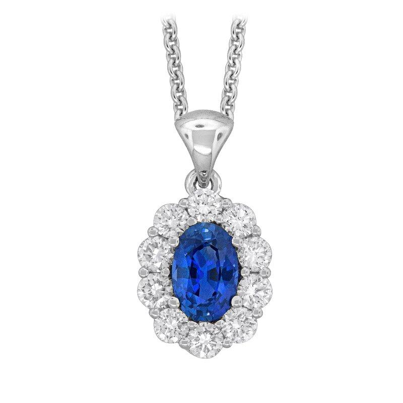 King's 18kt Wht Gold Sapphire and Diamond Pendant