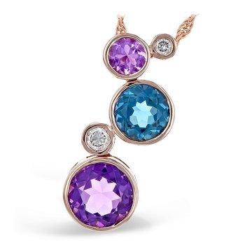 Amethyst, Blue Topaz & Diamond Pendant