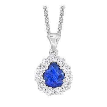 18kt Wht Gold PearShape Sapphire and Diamond Pendant