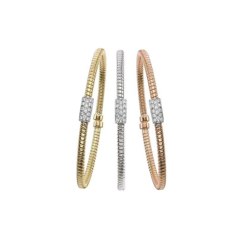 King's 18kt Yel Cuff Bangle Bracelet with Diamond Bar