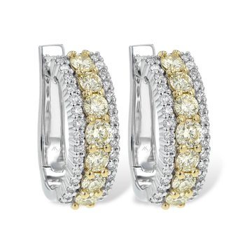 Diamond Hoop Earrings Yellow Diams