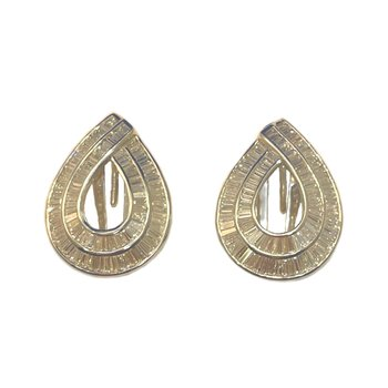18kt wh Baguette Diamond Earrings w/Omega Post Backs 3.75tw