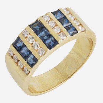18kt Yell Sapphire & Diamond Band Channel Set