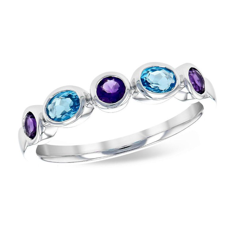 King's Amethyst and Blue Topaz Band