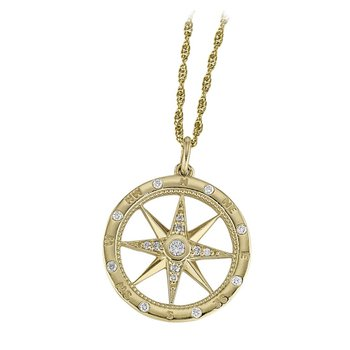14kt Yel Compass Pendant w/Diamonds
