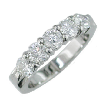 Plat Shared Prong Diamond Band 1.30tw   #040047
