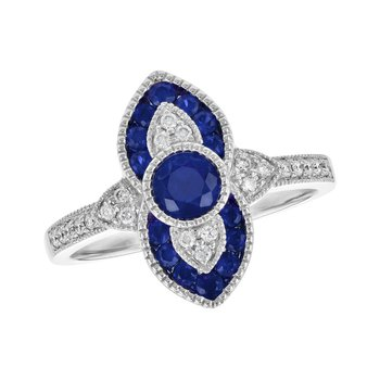 Sapphire and Diamond Design Ring