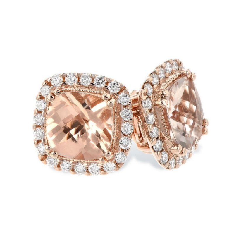 King's Morganite and Diamond Stud Earrings