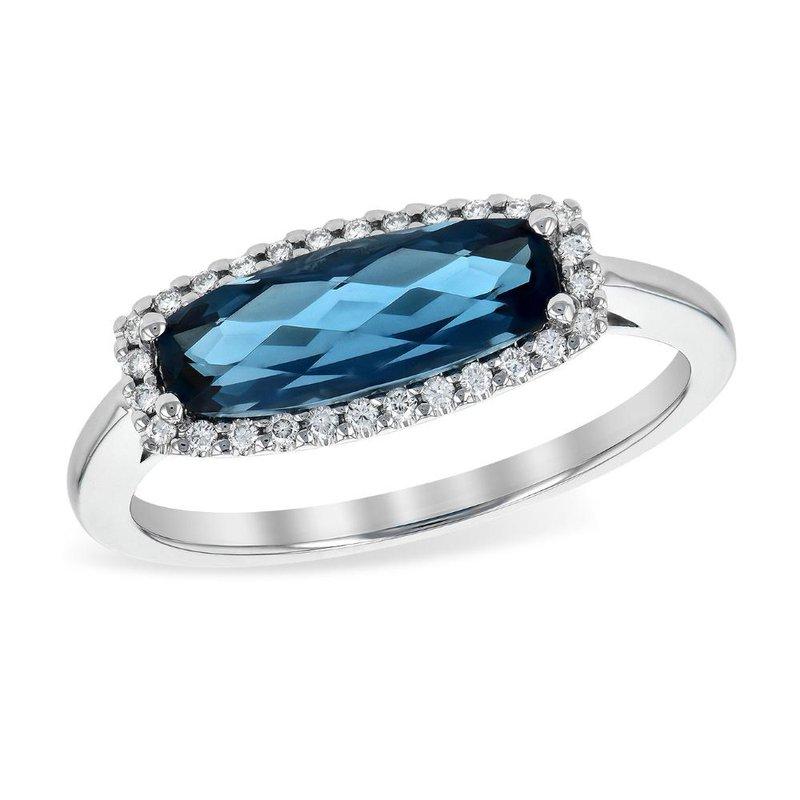 King's Oblong London Blue Topaz and Diamond Halo Ring