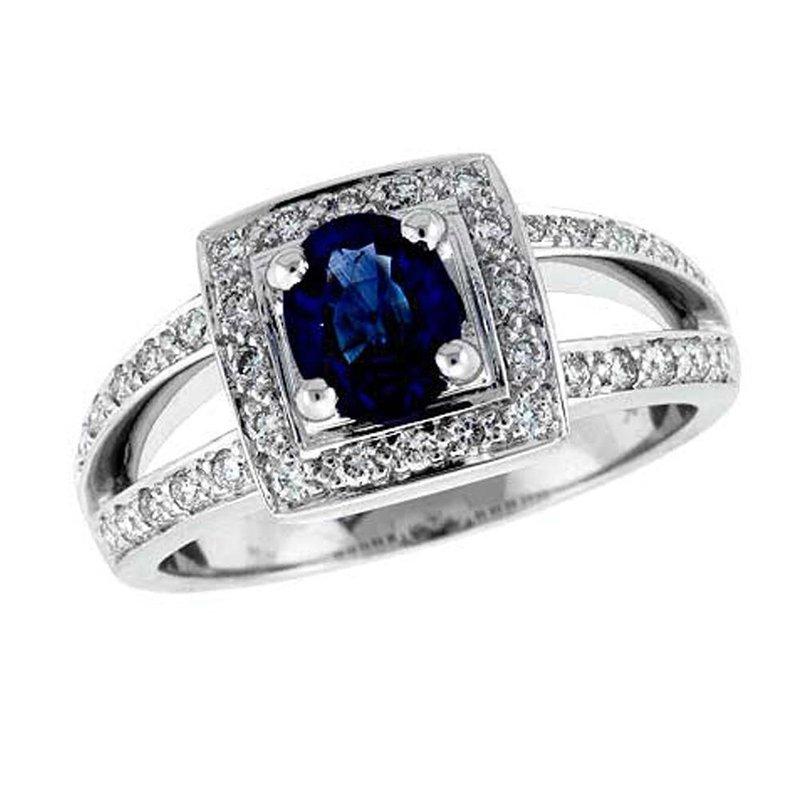 King's Oval Sapphire & Diamond Ring w/Split Shank