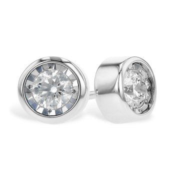 Bezel Set Diamond Stud Earrings
