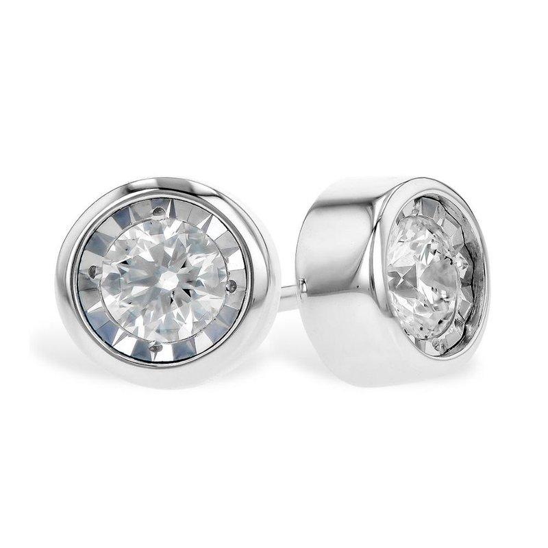 King's Bezel Set Diamond Stud Earrings