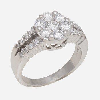 Cluster Diamond Ring w/Diams in Split Shank