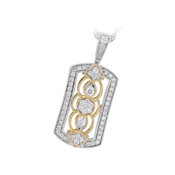 Filagree Diamond Pendant Yellow & White Gold