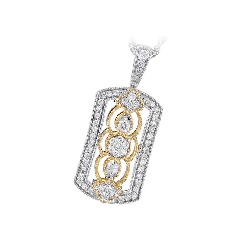 King's Filagree Diamond Pendant Yellow & White Gold