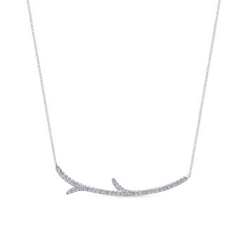 "White Gold ""Twig"" Fashion Necklace"