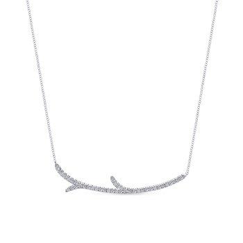 "White Gold ""Twig"" Fashion Necklace"