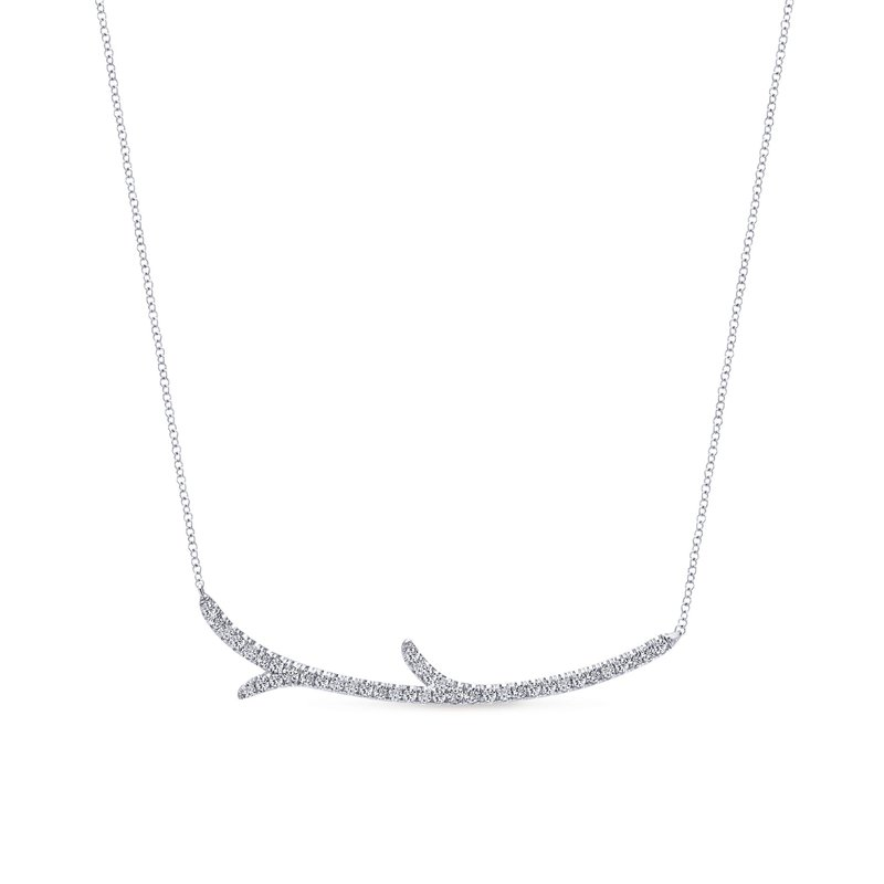 """King's White Gold """"Twig"""" Fashion Necklace"""