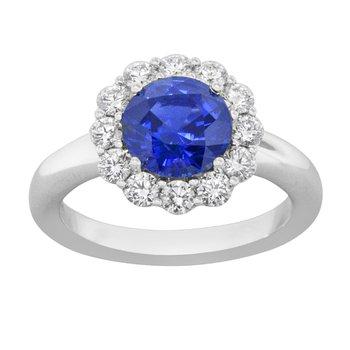 "18kt White Gold ""Gem Quality"" Oval Sapphire & Diamond Ring"
