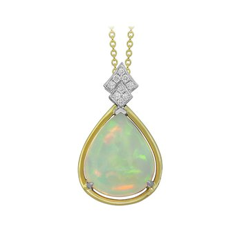 18kt yel Opal Pendant w/diam accent