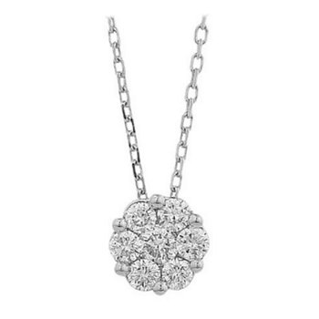 14kt Wh Diamond Halo Pendant