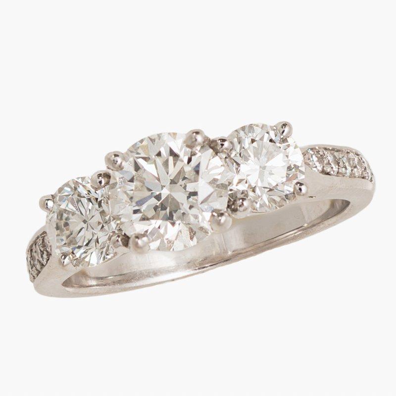 King's Bridal Diamond Three Stone Engagement Ring 2.09tw