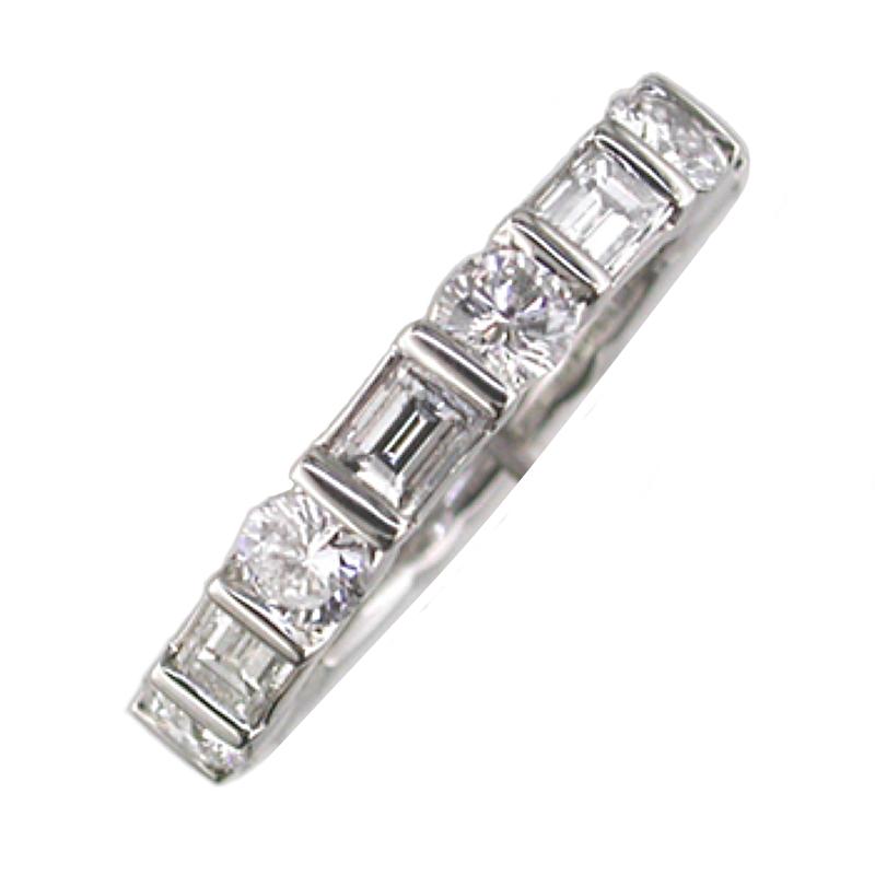 King's Bridal Round & Baguette Diamond Eternity Band 3.16tw   #040142