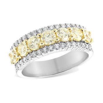 Yellow Diamond Band & White Diamond Accents